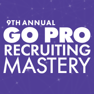 Go Pro Recruiting Mastery 2018 logo, purple